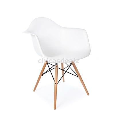 amazon com modhaus mid century modern eames style daw white chair