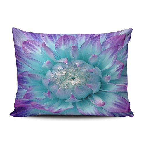SALLEING Custom Royal Modern Purple and Aqua Colored Dahlia Decorative Pillowcase Pillowslip Throw Pillow Case Cover Zippered One Side Printed 12x16 Inches