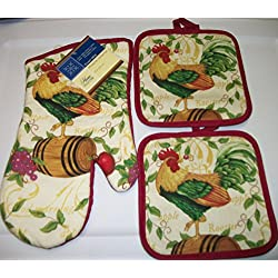 Rooster Oven Mitt and Matching Pot Holders
