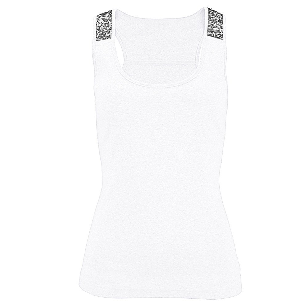 Women Tank Tops Sleeveless Solid Shirt Sequin Splice Plus Size Casual Vest Tunic Tops Blouse (S, White) by Yihaojia Women Blouse (Image #4)