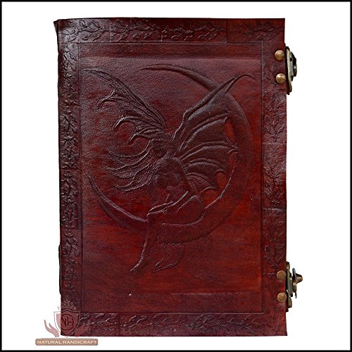 Leather Journal Handmade Fairy on Moon Embossed Personal Organizer Notebook Diary Day Planner College Book of Shadows Poetry Book Scheduler Sketchbook…