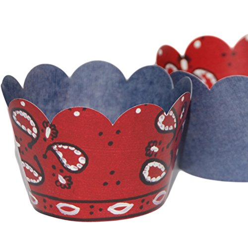 denim cupcake liners cowboy party supplies 36 bandana