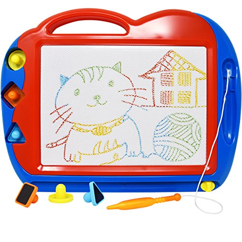 (Magnetic Drawing Board Toy/Doodle Board for Kids, Best Children Writing Playing Scetch Pad, Includes Stylus Stamps and Knob Eraser, Made of Non-Toxic Materials, The Best Learning Toy for your Kids!!)