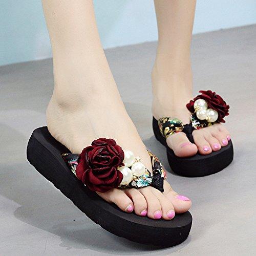FLYRCX Flor resbaladiza zapatillas damas' de moda de verano clip antideslizante flip flops zapatillas de playa. a