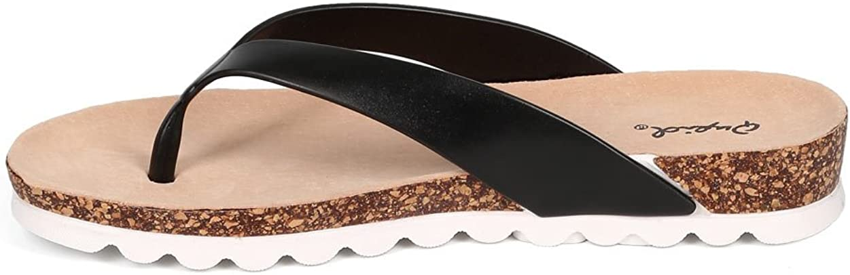 Black Qupid Women PVC Thong Cork Sandal CF53