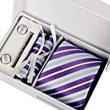 Laho Mens Handmade Silk Necktie with Cufflinks Pocket Square and Tie Clip 3'' (8cm)