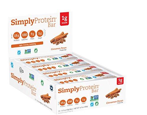SimplyProtein Bar, Cinnamon Pecan, Pack of 12, Gluten Free, Non GMO, Vegan
