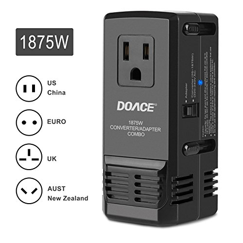 DOACE C7 Transformer Powerful 1875W Worldwide Travel Adapter and Converter Combo, 220V to 110V International Voltage Converter for Hair Dryer Phone, All in One Plug Adapter Wall Charge for UK/AU/US/EU (Power Converter World)