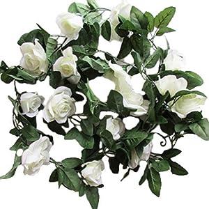 Wishlanlan 6pcs Artificial Fake Hibiscus Rose Flower Vine Rattan Cane Garland Silk Flowers for DIY Garden Decor Living Room Hanging Flower (White)