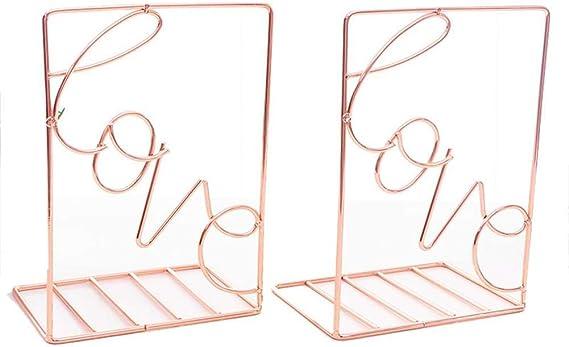 Geeignet f/ür B/ücher DVDs Geometrische Buchst/ützen Regal Organizer Rutschfestes B/ücherregal Wei/ß M/&W CDs Buchhalter aus Metall