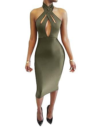 a1faa2114d3 TOB Women's Sexy Halter Bodycon off Shoulder Club Dress: Amazon.co ...