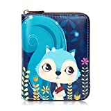 APHISON Credit Card Holder Protector ID Card Window Security Travel Wallet Leather for Women Cartoon Patterns Accordion Style with Zipper for Ladies Girls/Gift Box 185 (0015)