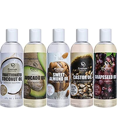 Carrier Oil Gift Set Coconut Oil - Castor Oil - Grapeseed Oil - Avocado Oil & Sweet Almond Oil - Best Massage Oil All Natural - 4 fl oz Each 5 Piece Variety Pack of Oils Premium Nature