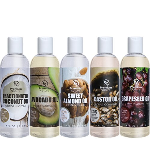 Price comparison product image Carrier Oil Gift Set Coconut Oil - Castor Oil - Grapeseed Oil - Avocado Oil & Sweet Almond Oil - Best Massage Oil All Natural - 4 fl oz Each 5 Piece Variety Pack of Oils Premium Nature