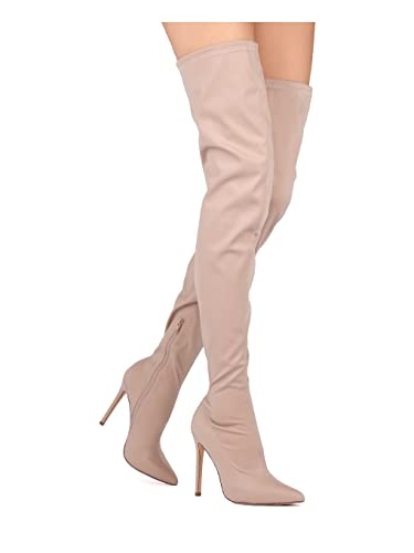 4f3d2146324 Alrisco Women Thigh High Pointy Toe Stretchy Drawstring Stiletto Boot HE43  - Nude Neoprene (Size