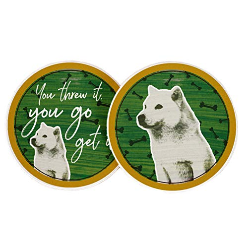 Desert Cactus Dog Doggy You Threw It, You Go Get It Bone Absorbent Sandstone Car Cup Coaster (Set of 2)