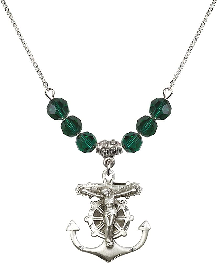 18-Inch Rhodium Plated Necklace with 6mm Emerald Birthstone Beads and Sterling Silver Crucifix Charm.