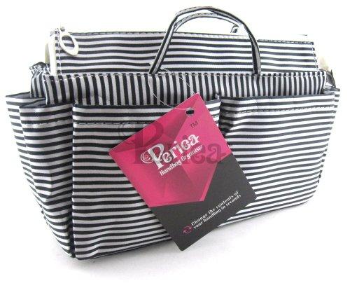 Periea Handtaschen-Organizer groß 13 Fächer + GRATIS Schlüsselhalter Schwarz Und Weiße Streifen-Chrissy