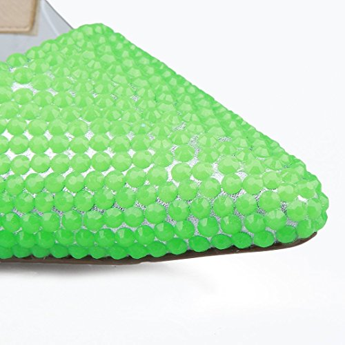 Sera Scarpe Donne Strass Di Spillo Alta Vestito Partito Tallone Tda A Pelle Verde Da Luminosi Delle Verniciata wHnO7qX