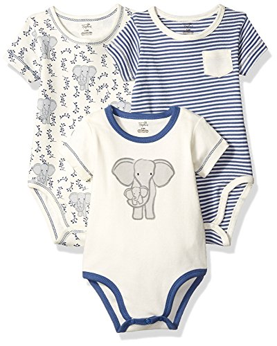 (Touched by Nature Baby Organic Cotton Bodysuit 3-Pack, Elephant, 9-12 Months)