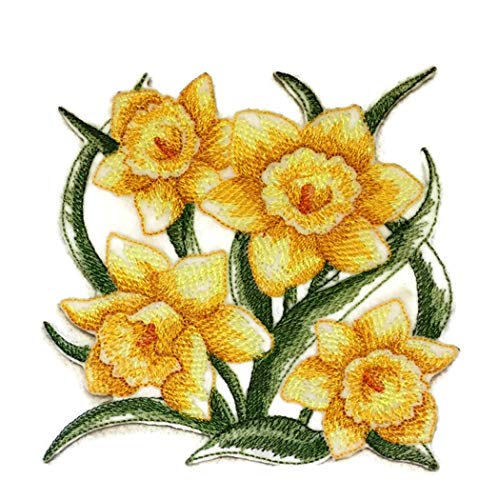 (BeyondVision Custom Blooming Flowers Sketch[Sketched Daffodils] Embroidered Iron on/Sew Patch [4.86
