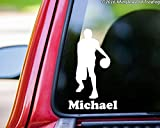 Boy Basketball Player vinyl decal sticker with Personalized Name 6' x 2.5' Male Mens WHITE