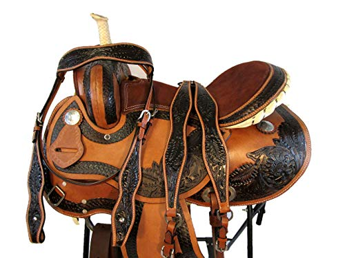 - 15 16 Barrel Racing Comfy Show Trail Tooled Leather Western Horse Saddle TACK (15)