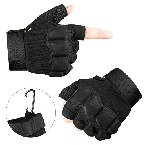 Fingerless Tactical Gloves for Cycling Motorcycle Fitness Airsoft Paintball Hiking Army Military Outdoor Half Finger Glove in Black Camouflage Color.