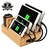 Bamboo Charging Station & Multi Device Organizer, Large Capacity Desktop Cord Organizer Dock Compatible with Smartphones iPhone iPad and Tablets-Durable and Eco-Friendly (Nature Bamboo)