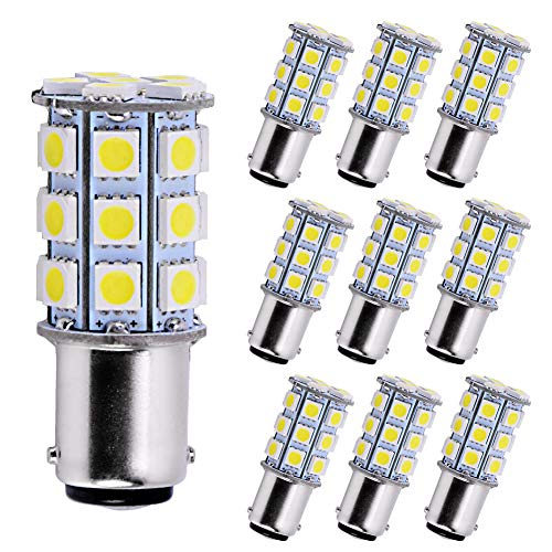 (YITAMOTOR 10 X BA15D 5050 27SMD LED Marine Boat RV Xenon White Light 1004 1142 1076 1130 1176)