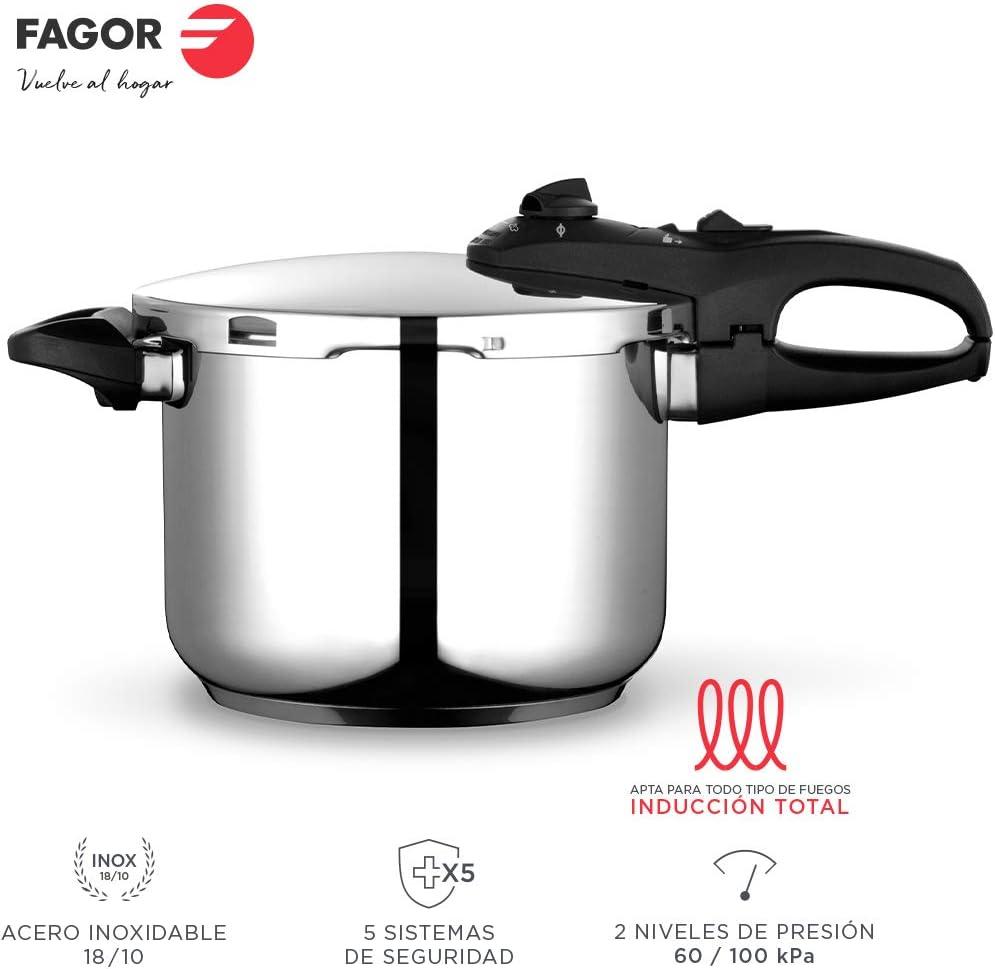 Fagor Duo Olla a presión Super rápida, Acero Inoxidable 18/10, Todo Tipo de cocinas, INDUCCION Total. Fondo termodifusor IMPAKSTEEL máxima Resistencia, 5 Sistemas Seguridad, 2 Niveles de presión (4L)