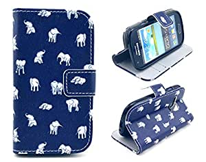 Samsung Galaxy S3 mini i8190 Case, Funny Baby Elephant Credit ID Card Slot Holder Wallet Flip Phone Case With Stand --Retail Package W Screen Protector--Blue
