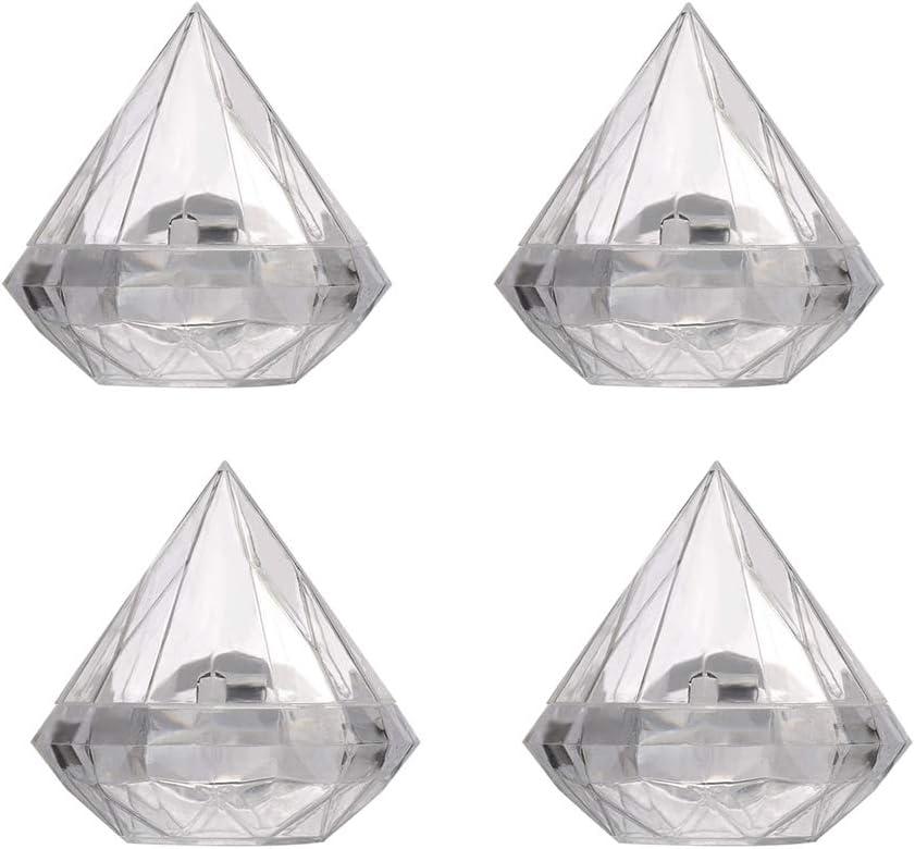 Toyvian 6 Piezas Cajas de Dulces de Boda en Forma de Diamante Cajitas de Caramelo Plásticas Transparentes Cajas de Regalo para Bodas Fiestas (9x9cm, L)