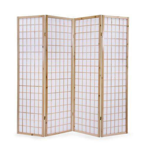 Paravent Raumteiler 4 teilig Reispapier Wei/ß Homestyle4u 75 Holz Natur H/öhe 175 cm