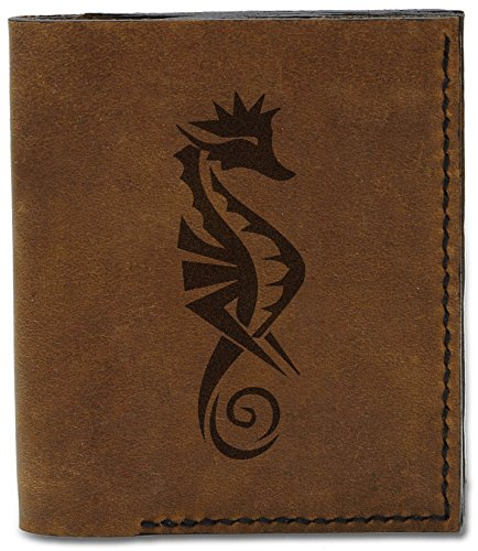 Men's Leather b Natural Tattoo Seahorse Tattoo Genuine Wallet MHLT 6 04 Seahorse Handmade Tribal qArFgqT