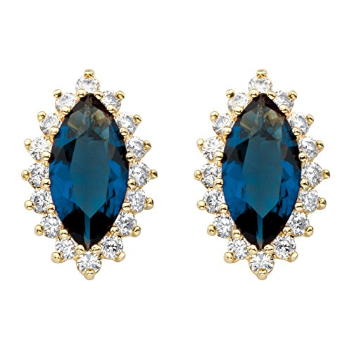 Marquise-Cut Simulated Green Sapphire and CZ 18k Gold-Plated Halo Stud Earrings
