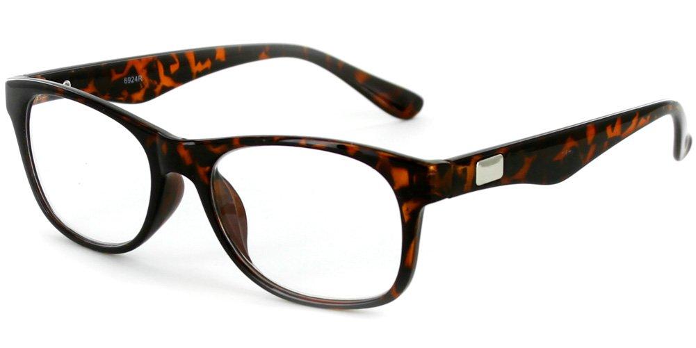 ''Wall Street'' Professional Series Wayfarer Reading Glasses with Rounded Lenses for Men (Tortoise +1.25)