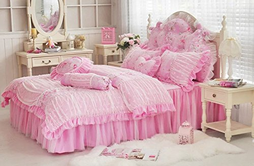 LELVA Vintage Lace Wrinkle Design Duvet Cover Set with Bed Skirt Twin 4 Piece Romantic Floral Ruffle Bedding for Girls Pink