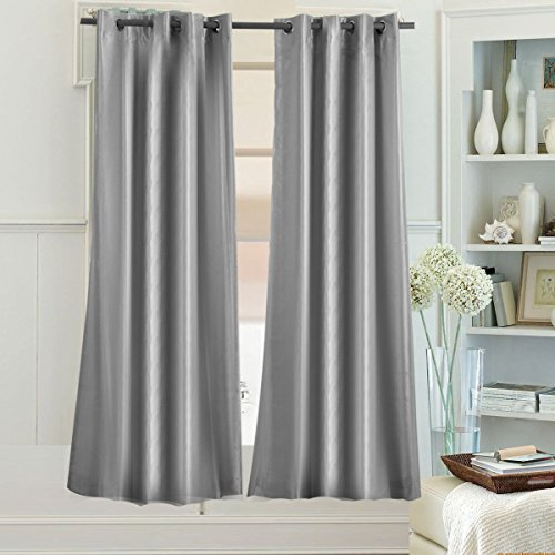 "Cheap Beryhome Montana Faux Silk Double-Layer Lined 100% Blackout Grommet Window Curtains for Living Room and Bedroom, Set of 2 Panels. Size: Width 52""x Length 90"" inches. Color Silver(W52xL90, Silver)"