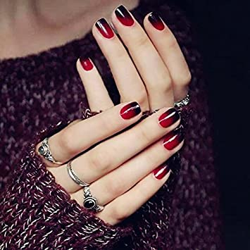 Amazon.com : YUNAI 24PCS Fake Nail Glossy Black and Red Pre-design False Nail Short Size Smooth Nail Tips : Beauty
