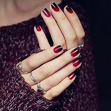 Amazon.com : YUNAI 24PCS Fake Nail Glossy Black and Red Pre-design False Nail Short Size Smooth Nail Tips : Beauty