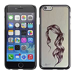 Shell-Star Arte & diseño plástico duro Fundas Cover Cubre Hard Case Cover para Apple iPhone 6(4.7 inches) ( Hairstyle Art Wavy Portrait Anonymous Beauty )