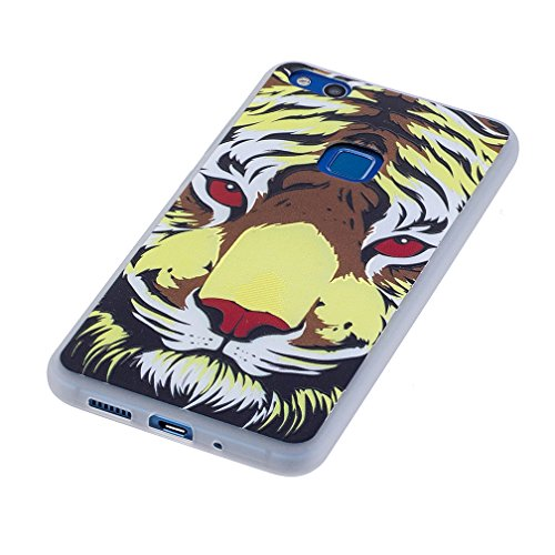 Funda Huawei P10 LITE,XiaoXiMi Carcasa de Silicona TPU Suave y Esmerilada Funda Ligero Delgado Carcasa Anti Choque Durable Caja de Diseño Creativo - Mapa Tigre