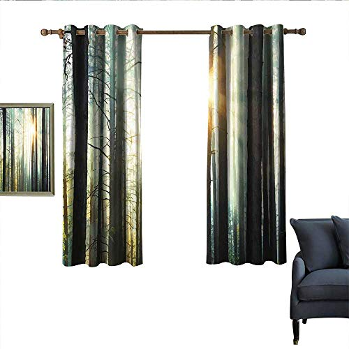 (longbuyer Country Blackout Curtains Fairy Foggy Forest Mist in The Woods Enchanted Wilderness with Sunbeams Image Blackout 63