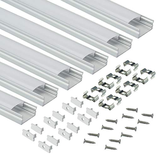 Muzata LED Aluminum Channel System with Cover, End Caps and Mounting Clips,  Aluminum Profile For Strip Lights Diffuser Segments, 9x17mm,6-Pack