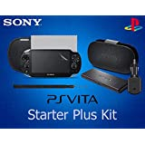 OFFICIAL PS Vita 7 in 1 Starter Plus Accessory Kit - Includes: Leather Flip Case Stand, Slip Pouch, Game Card Holder, USB Car Charger, Wrist Strap, Screen Protector and Screen Cloth - (OEM Packed - No Retail Packaging)