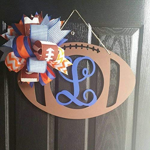 Pick your Team! Hand Painted Single Initial Football Door Hanger with a Large Team Bow/Initial Door Wreath/Monogram Door Hanger Wreath