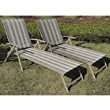 Mainstays Fair Park Sling Folding Lounge Chairs, Set of 2, Multiple Colors (Solid Stripe) For Sale