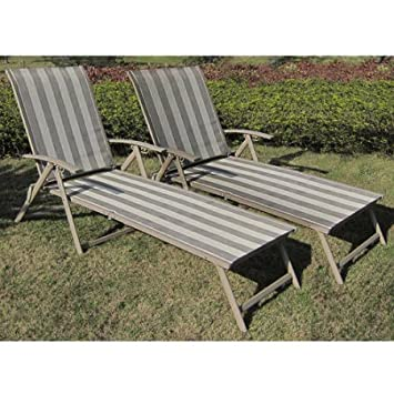 Mainstays Fair Park Sling Folding Lounge Chairs, Set of 2, Multiple Colors Solid Stripe