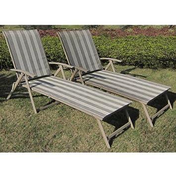Mainstays Fair Park Sling Folding Lounge Chairs, Set of 2, Solid Stripe Multi-Stripe